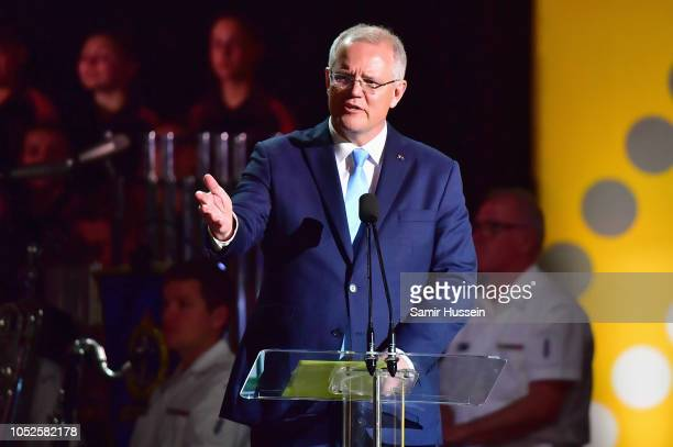 Prime Minister of Australia Scott Morrison speaks on stage at the Invictus Games Opening Ceremony on October 20 2018 in Sydney Australia The Duke and...