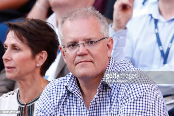 Prime Minister of Australia Scott Morrison watches the fourth round match between Roger Federer of Switzerland and Stefanos Tsitsipas of Greece...