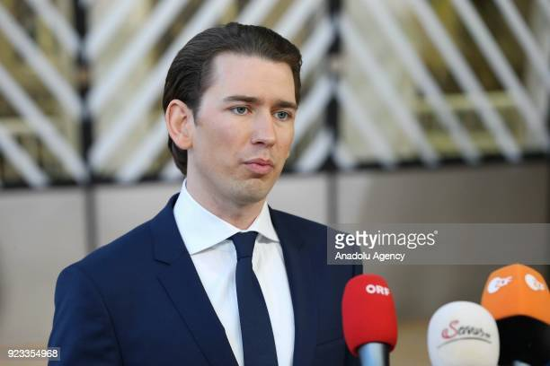 Prime Minister of Austria Sebastian Kurz answers the questions of press members as he arrives to attend the EU members' informal meeting of the 27...