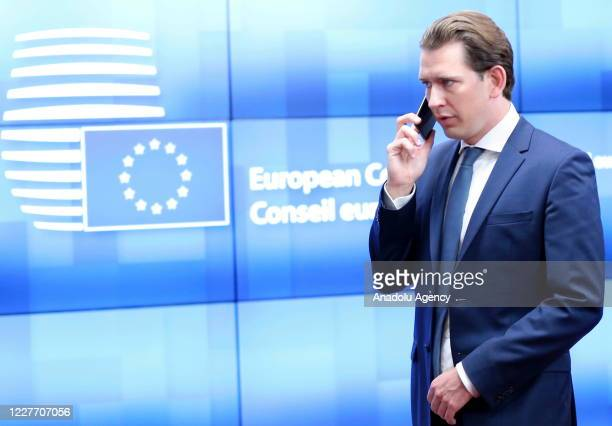 Prime Minister of Austria Sebastian Kurz arrives attend the fourth day of an EU summit in Brussels Belgium on July 20 2020 Leaders of the EU member...