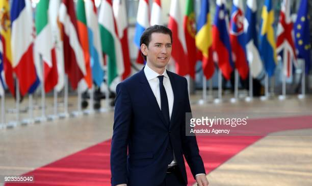 Prime Minister of Austria Sebastian Kurz attends the EU members' informal meeting of the 27 heads of state or government at European Council...