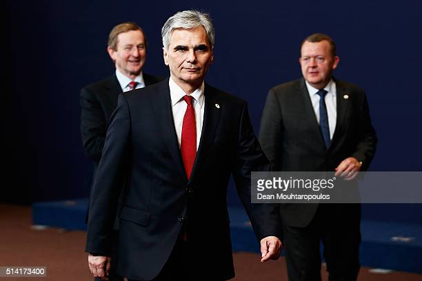 Prime Minister of Austria Werner Faymann is followed by The Taoiseach of Ireland Enda Kenny and Prime minister of Denmark Lars Lokke Rasmussen after...