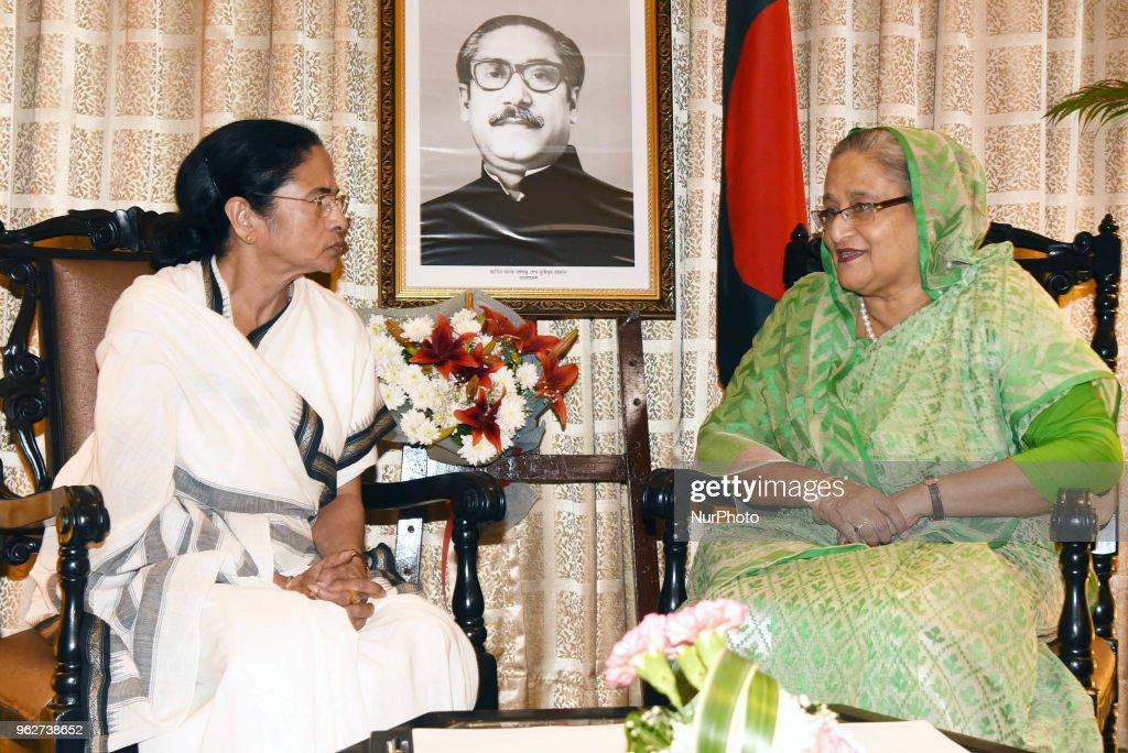 Prime Minister of Bangladesh Ms. Sheikh Hasina Prime Minister of Bangladesh and Mamata Banerjee Chief Minister of West Bengal a historical meeting at hotel Taj Bengal on May 26,2018 in Kolkata,India.