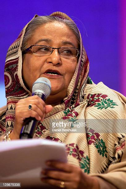 Prime Minister of Bangladesh Sheikh Hasina addresses the audience during the opening plenary called Leaders Dialogue on Climate Change of the seventh...
