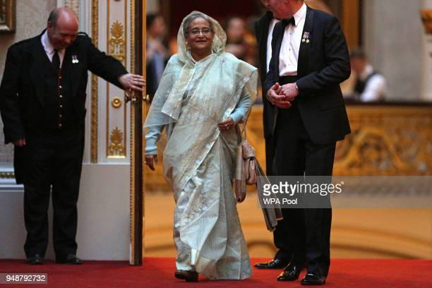 Prime Minister of Bangladesh Sheikh Hasina arrives to attend The Queen's Dinner during The Commonwealth Heads of Government Meeting at Buckingham...