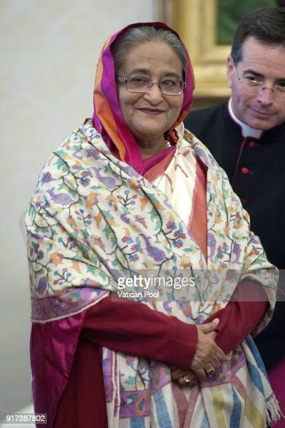 Prime Minister of Bangladesh Sheikh Hasina during a meeting with Pope Francis at the Apostolic Palace on February 12 2018 in Vatican City Vatican