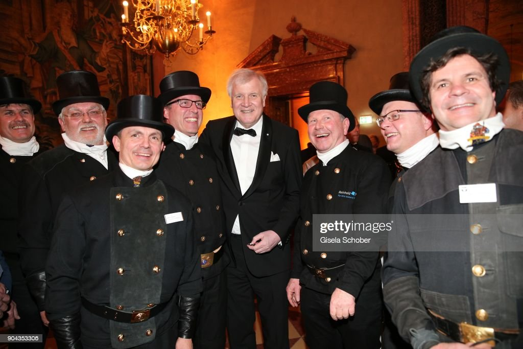 Prime minister of Bavaria Horst Seehofer and chimney sweeper during the new year reception (Neujahrsempfang) of the Bavarian state government at Residenz on January 12, 2018 in Munich, Germany.