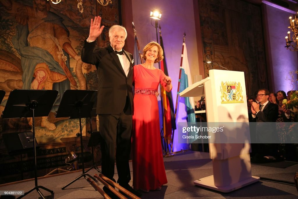 Prime minister of Bavaria Horst Seehofer and his wife Karin Seehofer during the new year reception (Neujahrsempfang) of the Bavarian state government at Residenz on January 12, 2018 in Munich, Germany.