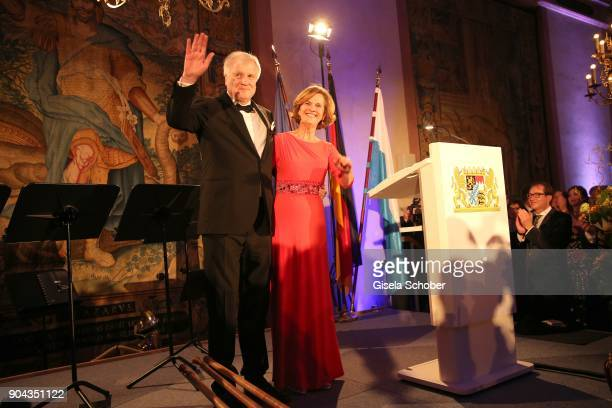 Prime minister of Bavaria Horst Seehofer and his wife Karin Seehofer during the new year reception of the Bavarian state government at Residenz on...