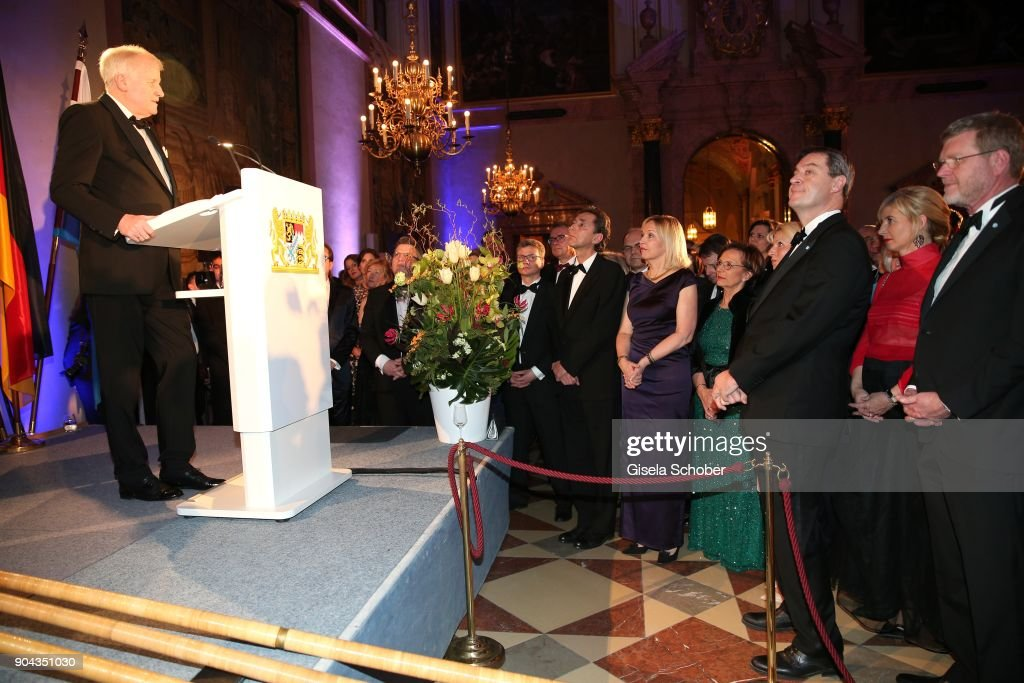 Prime minister of Bavaria Horst Seehofer, Beate Merk and Markus Soeder during the new year reception (Neujahrsempfang) of the Bavarian state government at Residenz on January 12, 2018 in Munich, Germany.