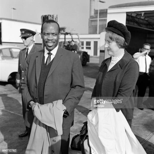 Prime Minister of Bechuanaland Seretse Khama and his wife Ruth Williams Khama arriving at London Airport from South Africa 20th October 1965