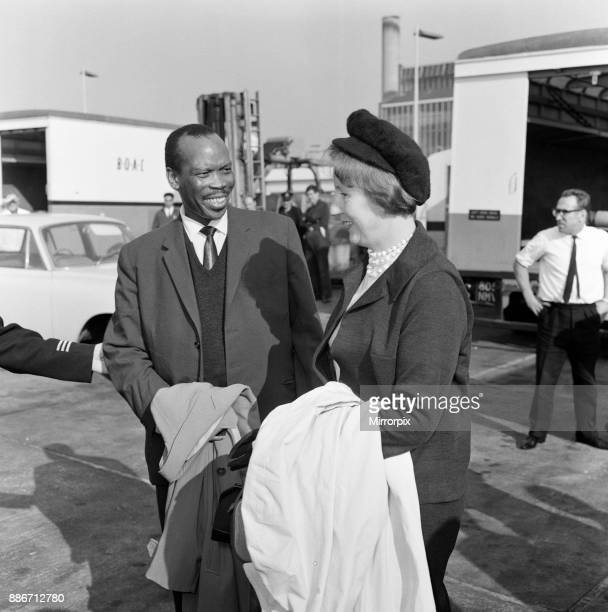 Prime Minister of Bechuanaland, Seretse Khama, and his wife Ruth Williams Khama arriving at London Airport from South Africa, 20th October 1965.
