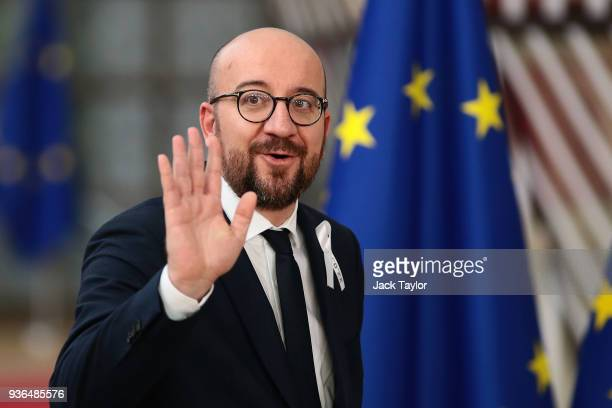 Prime Minister of Belgium Charles Michel arrives at the Council of the European Union for the first day of the European Council leaders' summit at...