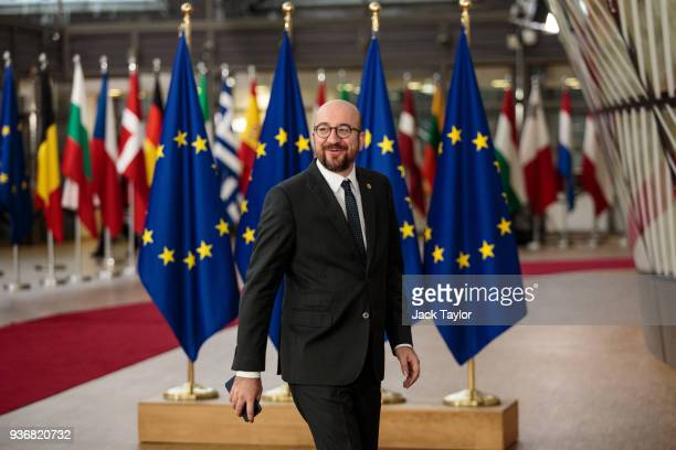 Prime Minister of Belgium Charles Michel arrives at the Council of the European Union on the final day of the European Council leaders' summit on...