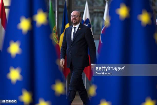 Prime Minister of Belgium Charles Michel arrives for the European Union leaders summit at the European Council on December 14 2017 in Brussels...