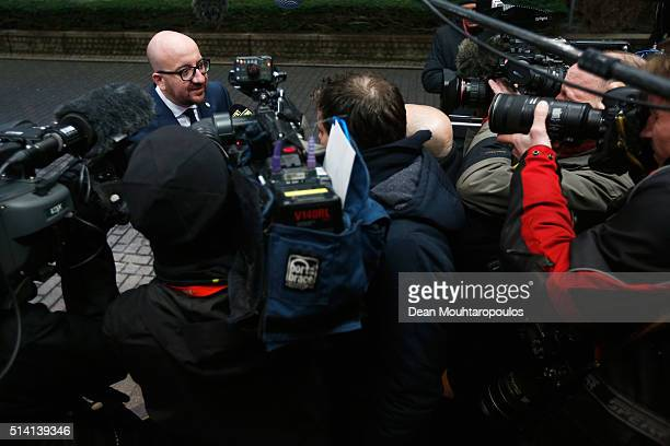 Prime Minister of Belgium Charles Michel speaks to the media prior to The European Council Meeting In Brussels held at the Justus Lipsius Building on...