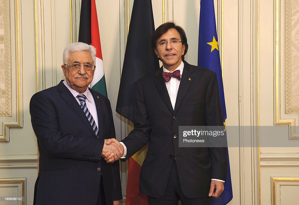Prime Minister of Belgium Elio Di Rupo meets with Mahmoud Abbas on October 23, 2013 in Brussels, Belgium.