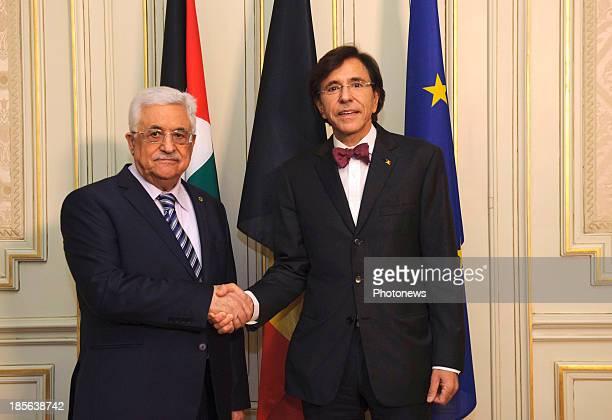 Prime Minister of Belgium Elio Di Rupo meets with Mahmoud Abbas on October 23, 2013 in Brussels, Belgium.
