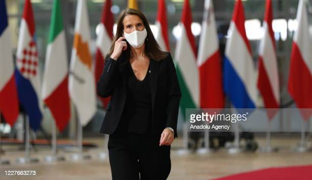 Prime Minister of Belgium Sophie Wilmes arrives to attend EU summit to discuss EU's longterm budget and coronavirus recovery plan at the European...