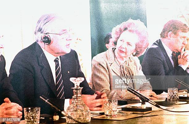 2/5/1984 Prime Minister of Britain Margaret Thatcher holds a press conference with the Chancellor of West Germany Helmut Kohl Here Mrs Thatcher is...