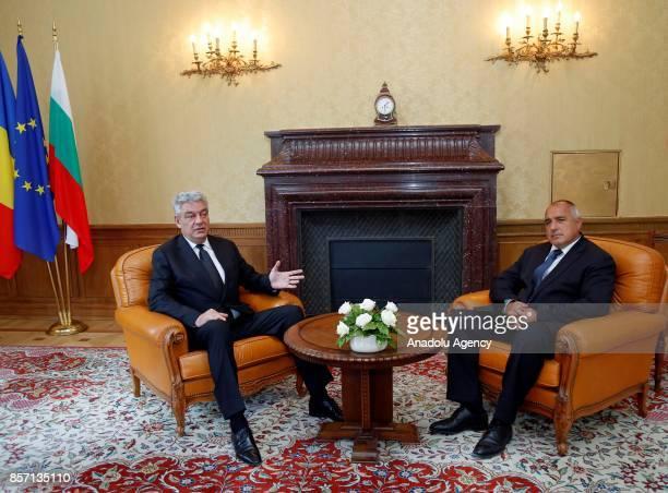 Prime Minister of Bulgaria Boyko Borisov meets with Prime Minister of Romania Mihai Tudose in Varna Bulgaria on October 03 2017
