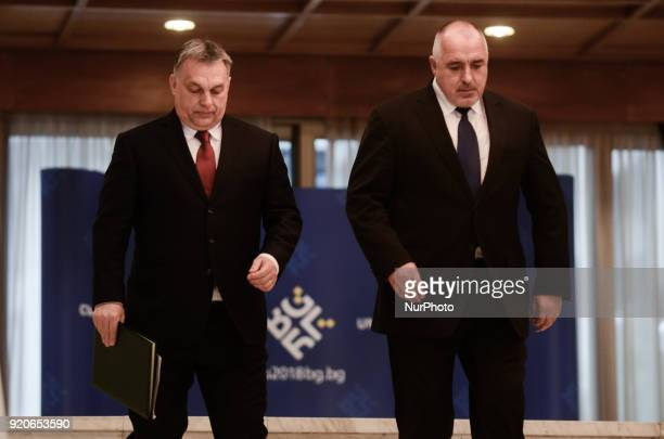 Prime Minister of Bulgaria Boyko Borisov R and Hungarian Prime Minister Viktor Orban L hold a joint press conference following a bilateral...
