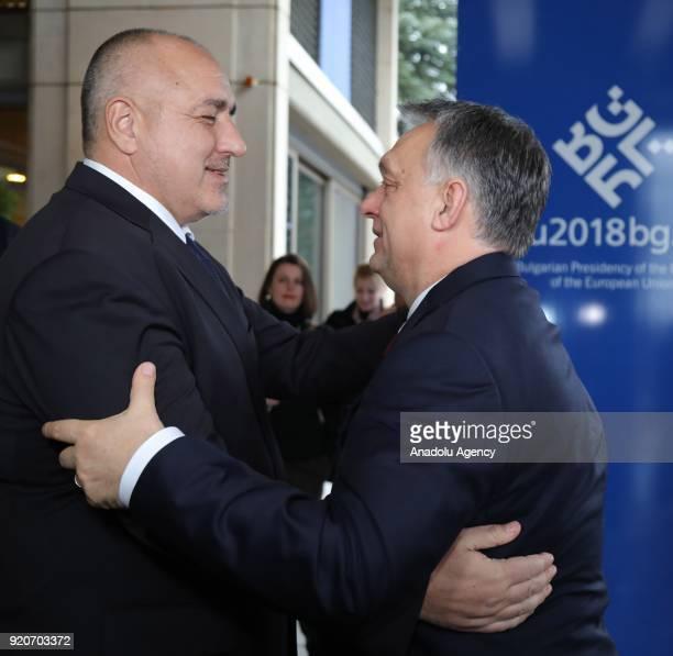 Prime Minister of Bulgaria Boyko Borisov welcomes Prime Minister of Hungary Viktor Orban in Sofia Bulgaria on February 19 2018