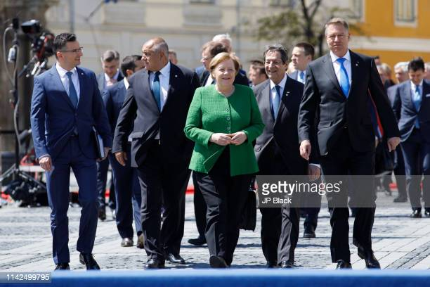 Prime Minister of Bulgaria Boyko Borissov Chancellor of Germany Angela Merkel and President of Romania Klaus Werner Iohannis walks to a family photo...