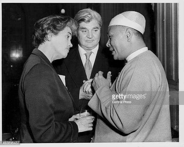 Prime Minister of Burma U Nu with British politician Aneurin Bevan and his wife Jennie Lee at the Savoy Hotel London June 22nd 1955