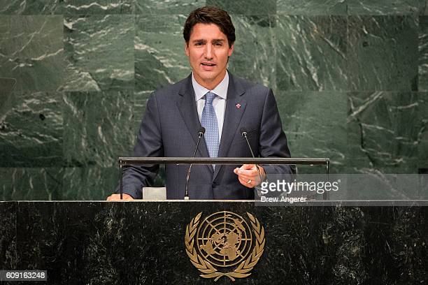 Prime Minister of Canada Justin Trudeau addresses the United Nations General Assembly at UN headquarters September 20 2016 in New York City According...