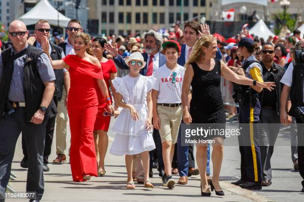 Prime Minister of Canada Justin Trudeau and Governor General of Canada Julie Payette greet crowds as they arrive Canada Day celebrations at...