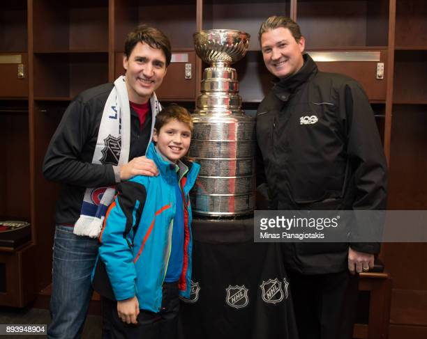 Prime Minister of Canada Justin Trudeau and his son Xavier Trudeau pose for a photo with NHL legend Mario Lemieux during the 2017 Scotiabank NHL100...