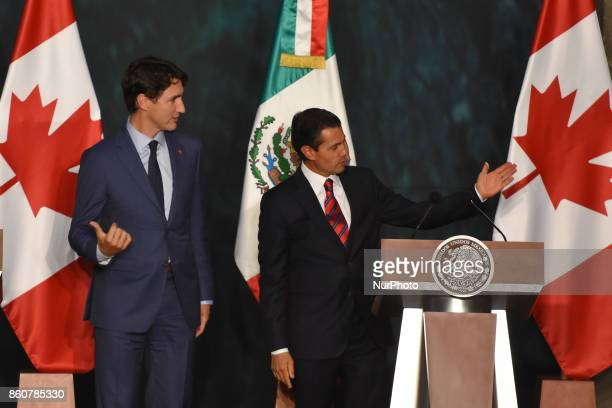 Prime Minister of Canada Justin Trudeau and Mexican President Enrique Pena Nieto during a press conference to speak for the negotiations of NAFTA...