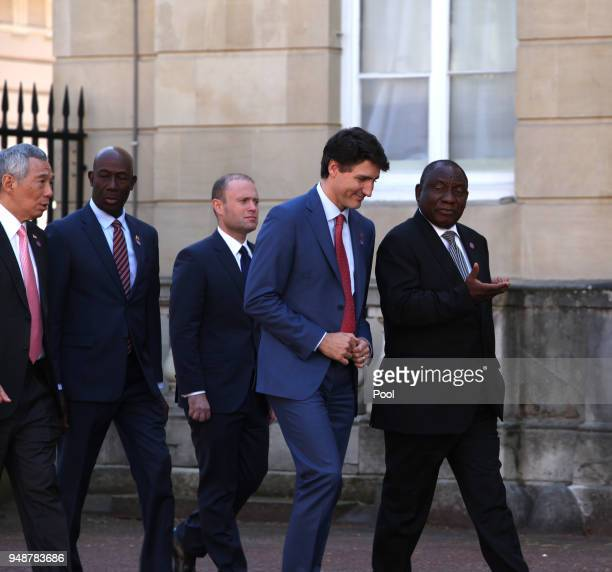 Prime Minister of Canada Justin Trudeau and other Commonwealth heads walk to Lancaster house on April 19 2018 in London England