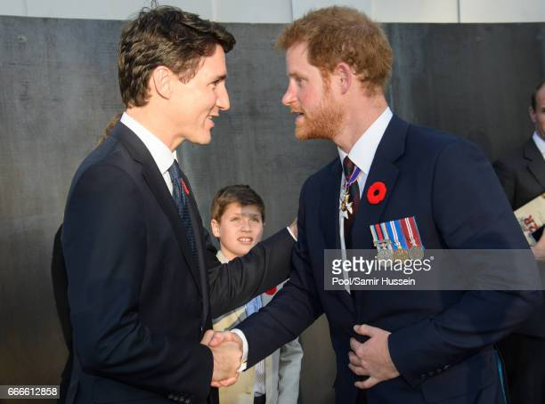 Prime Minister of Canada Justin Trudeau and Prince Harry attend a reception during the commemorations for the 100th anniversary of the battle of Vimy...