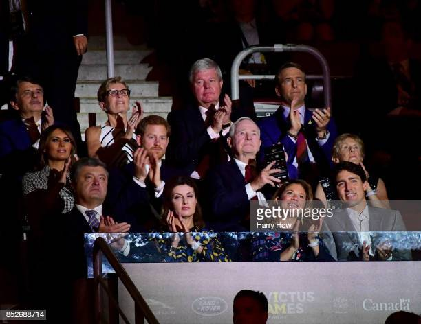 Prime Minister of Canada Justin Trudeau and Sophie Grégoire Trudeau sits in a box with Prince Harry and Melania Trump during the opening ceremony of...