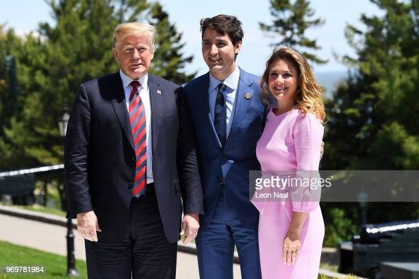 Prime Minister of Canada Justin Trudeau and wife Sophie Gregoire greet US President Donald Trump during the G7 official welcome at Le Manoir...
