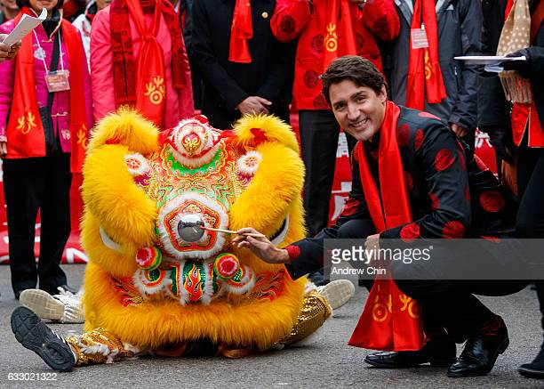 Prime Minister of Canada Justin Trudeau attends the 44th Vancouver Chinatown Spring Festival Parade on January 29 2017 in Vancouver Canada
