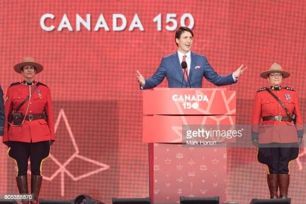 Prime Minister of Canada Justin Trudeau delivers remarks at Canada Day Celebrations at Parliament Hill on July 1 2017 in Ottawa Canada