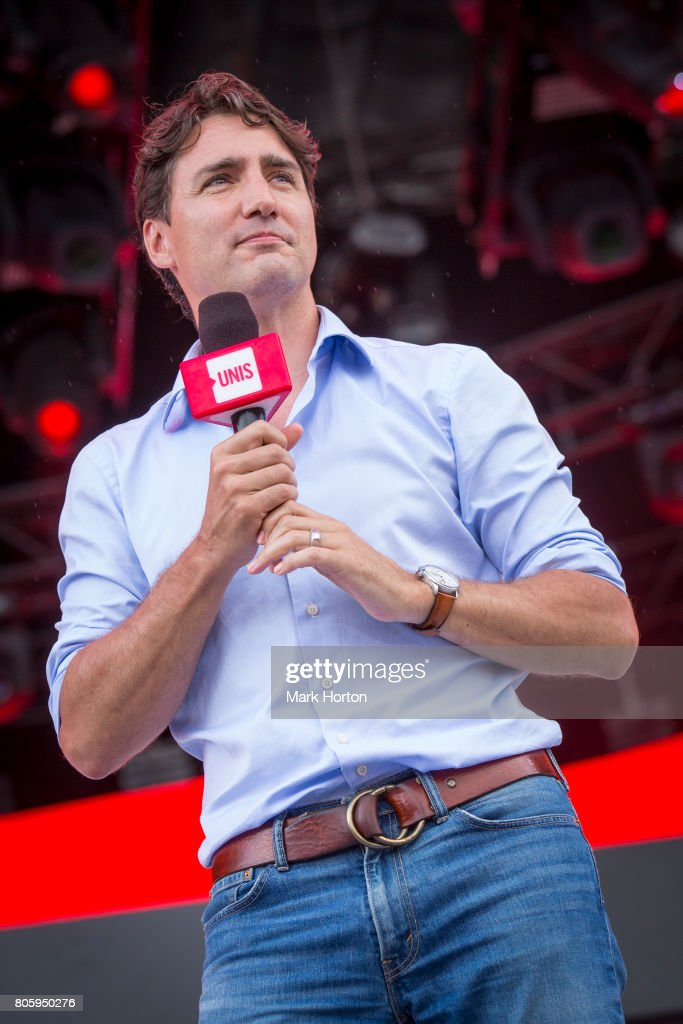 Prime Minister of Canada Justin Trudeau delivers remarks at We Day Canada at Parliament Hill on July 2, 2017 in Ottawa, Canada.