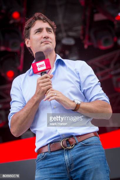 Prime Minister of Canada Justin Trudeau delivers remarks at We Day Canada at Parliament Hill on July 2 2017 in Ottawa Canada
