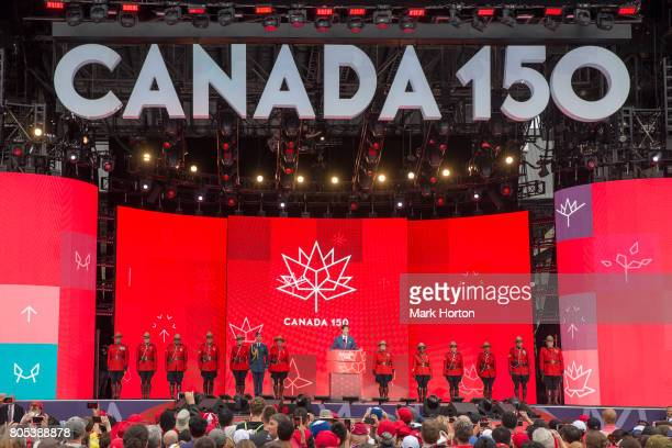 Prime Minister of Canada Justin Trudeau delivers remarks during Canada Day celebrations at Parliament Hill on July 1 2017 in Ottawa Canada