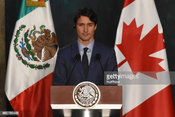 Prime Minister of Canada Justin Trudeau during a press conference to speak for the negotiations of NAFTA between Mexico and Canada at National Palace...
