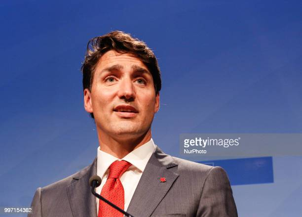 Prime Minister of Canada Justin Trudeau gives a closing press conference during 2018 summit in NATOs headquarters in Brussels Belgium on July 12 2018