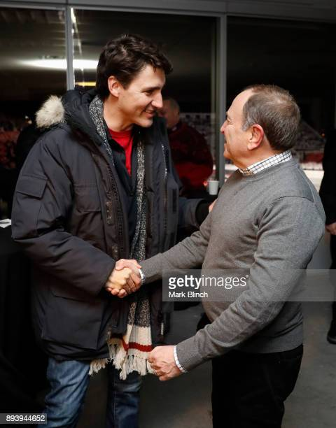 Prime Minister of Canada Justin Trudeau greets NHL Commissioner Gary Bettman prior to the 2017 Scotiabank NHL 100 Classic between the Montreal...