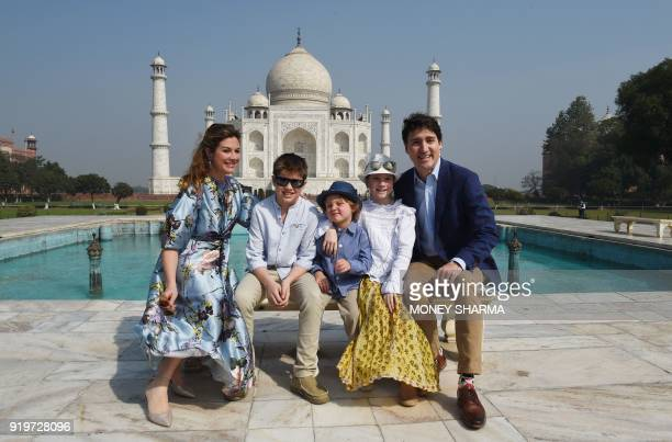 Prime Minister of Canada Justin Trudeau his wife Sophie Gregoire and their children pose for a photograph during their visit to Taj Mahal in Agra on...