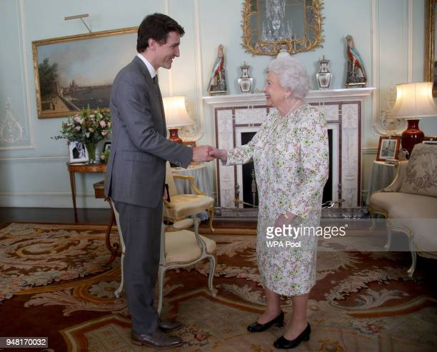 Prime Minister of Canada Justin Trudeau is greeted by Queen Elizabeth II during a private audience at Buckingham Palace on April 16 2018 in London...