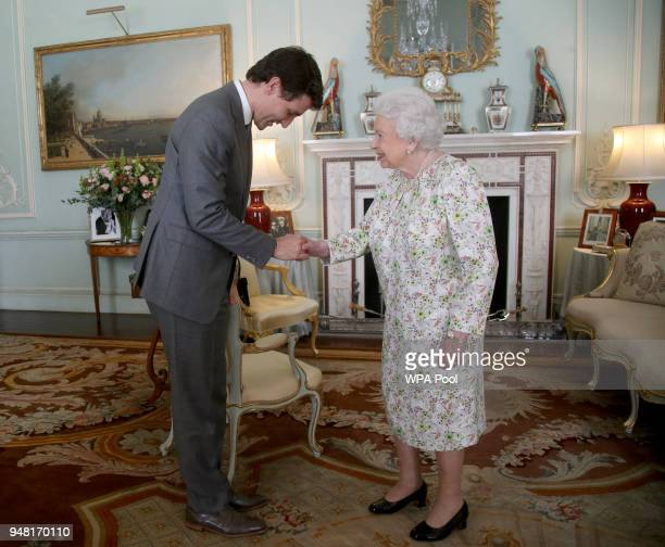 Prime Minister of Canada Justin Trudeau is greeted by Queen Elizabeth II during a private audience at Buckingham Palace on April 16, 2018 in London,...