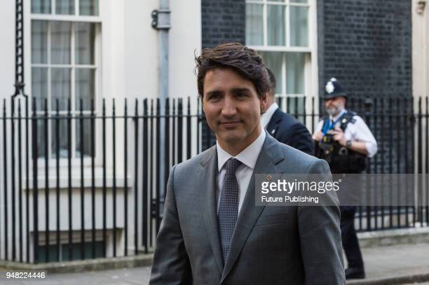 Prime Minister of Canada Justin Trudeau leaves Downing Street after meeting with British Prime Minister Theresa May as the UK hosts the Commonwealth...