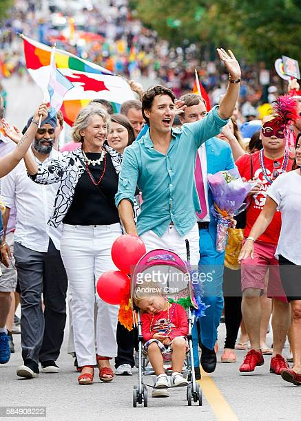 Prime Minister of Canada Justin Trudeau pushes his youngest son Hadrien Trudeau in a stroller during the 38th Annual Vancouver Pride Parade on July...